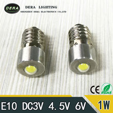 2pieces/lot Hot selling E10 1W 6V 3V LED For Focus Flashlight Replacement Bulb Torches Emergency Work Light Pure cold White