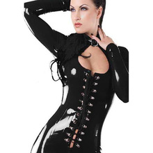 Buy New Black Fetish Gothic Faux Leather Jumpsuit Vinyl Buckle Neck Lace Front Catsuit Sexy Night Club Jumpsuit W7743