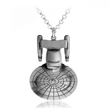 Wholesale Movie Star Trek Star War Metal Enterprise Millennium Falcon Spacecraft Robot R2D2 Necklace Pendant Necklace Jewelry(China)