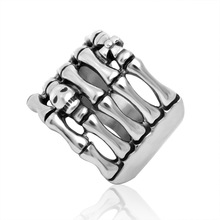 Men's Vintage Look Silver Tone Ghost Hand Stainless Steel Ring Band U.S.Size(China)