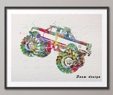 Original watercolor Boys Monster Truck poster print pictures Pop wall art canvas painting kids room home Decoration wall sticker