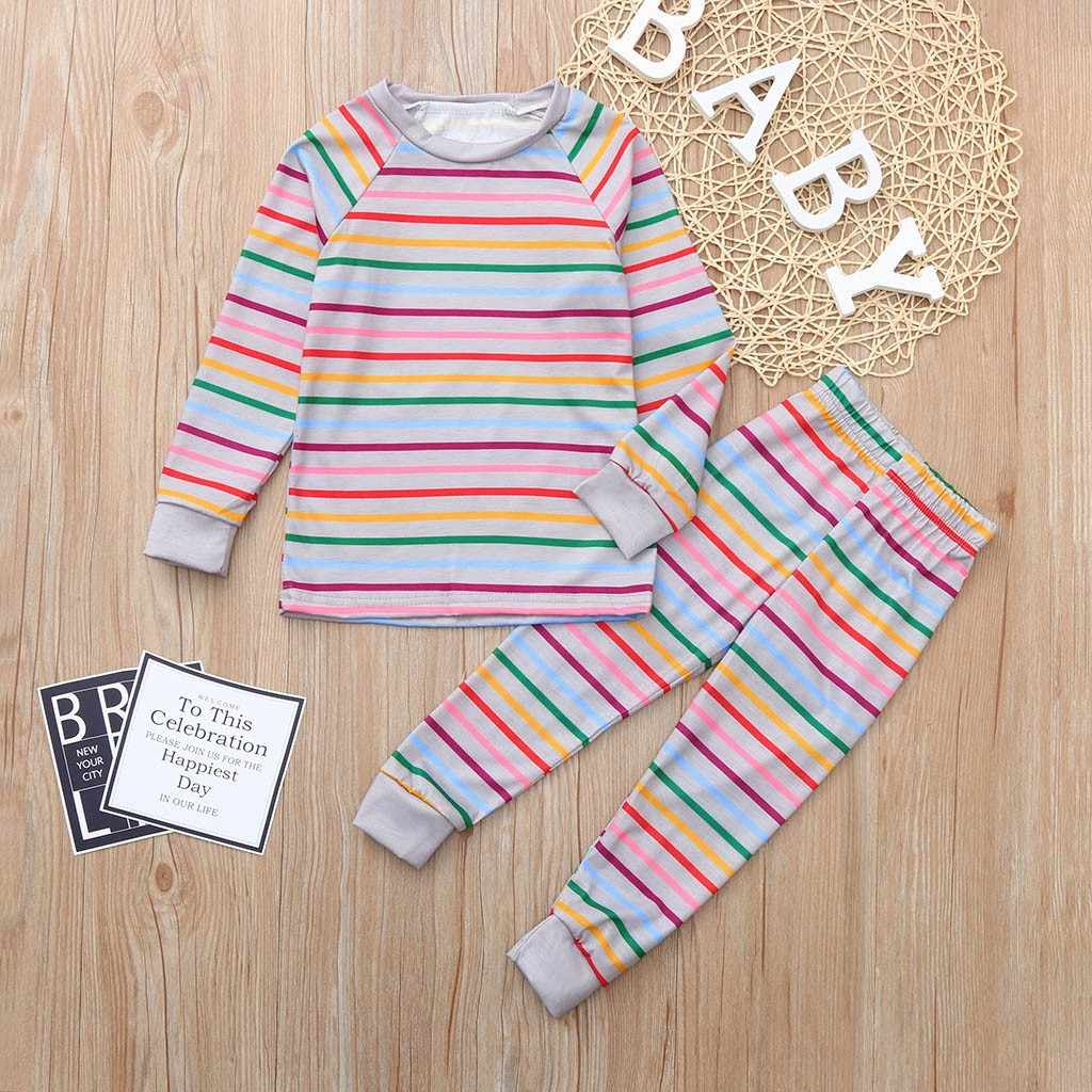 Children Clothes Kids Clothing Set Boys Pajamas Sets Long Sleeves Stripe  Nightwear Pajamas Girls Sleepwear Baby 1089a8b02