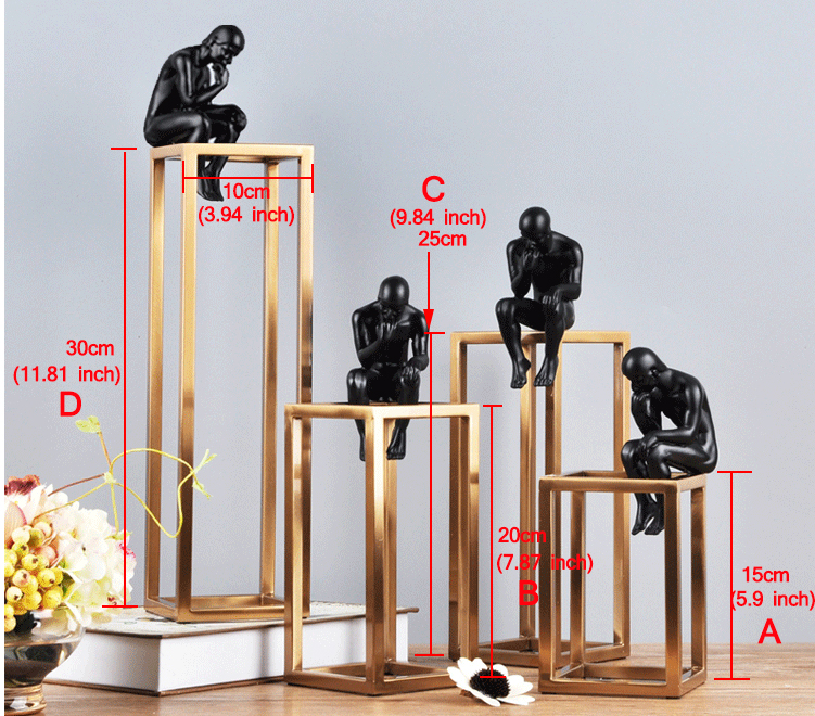 Thinking of Rodin Sculpture Postmodern Thinker Small Black Metal Stainless Steel Frame Home Decoration Room Figure Adornment 2