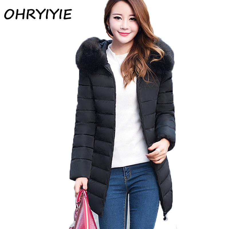 OHRYIYIE Fake Fur Collar Parka Cotton Jacket Autumn Winter Jacket Women Thick Snow Wear Coat Lady Clothing Female Jackets ParkasÎäåæäà è àêñåññóàðû<br><br>