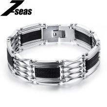 Punk Rock Silver 316L Stainless Steel Rubber Silicone Motorcycle Bike Chain Bracelet Bangle Cool Men Jewelry,JM935(China)
