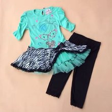 3 sets/lot  4 years girl BEAUTEES brand zebra print puffy dress and black pants 2 pieces cotton outfit
