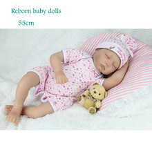 High Quality 55cm reborn dolls babies New born baby doll Lifelike Doll Play House toy girls  Gift Body cotton reborn baby dolls