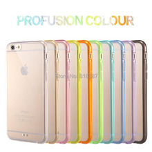 Newest Candy Color Soft Transparent TPU + Full Clear Acrylic Case Cover Skin for iPhone 6 6S 4.7 inch With Dust Plug 100pcs/lot