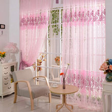 New Pink Floral Voile Door Curtain Window Room Scarf Sheer Valance Voile Door curtains home decor(China)