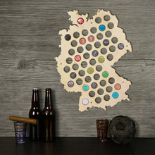 Free Shipping 1Piece Creative Laser Engraved Hanging Wooden Germany Map Beer Bottle Beer Cap Maps Cap Collector Gadgets Decor