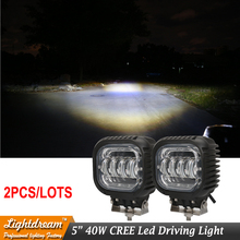 Pair of 5 Inch 40W Round LED Auxiliary Light  For Car Light 12V Headlight Wrangler JK CJ 10-30V Led work driving light Free ship