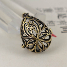 Antique Bronze tone Brushed Wish Prayer Box teardrop Hollow Filigree Locket Cage Pendant Essential Oil Aromatherapy Diffuser(China)