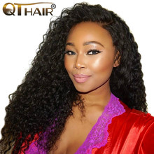 QThair Malaysian curly wave human hair bundles Can Buy 3/4 bundles or More Natural Black Color Non-remy 100% Human Hair Weaving