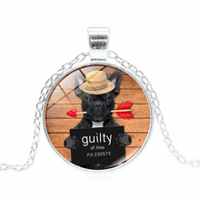 XUSHUI XJ New 2017 Fashion Women Necklace Guilty Bad Dog Glass Round Dome Pendant Silver Choker Necklace Women Gift