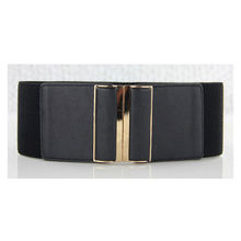 Women Solid wide waist belts luxury female elastic straps designer high quality lady's decorative strap for dress black color