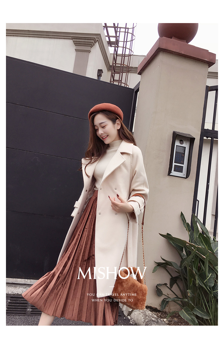 Mishow 19 autumn and winter woolen coat female Mid-Long New Korean temperament women's popular woolen coat MX17D9636 8