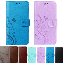 S4 S5 mini Butterfly Flower Leather Flip Cover Wallet Soft Case housing for Samsung Galaxy A5 A510F A7 A710F S6 S7 edge G360H