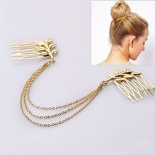 F044 Fashion Hair Accesories Gold Color Three Layer Chains Tassel Headband Small Trees Hair Comb(China)