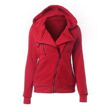 Fashion Winter Zipper Hooded Jacket Outerwear Coats Warm Women Long Sleeve Hoodies Sweatshirts Solid color