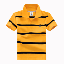 High quality 3-12 year old boy polo shirt short sleeve shirt lapel striped cotton children's T shirt various colors optional(China)