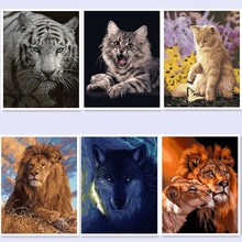 oil paint painting by numbers diy picture drawing coloring by numbers on canvas painting by hand painted Wolf tiger cat WQ008