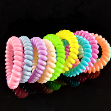 Magnetic Spiral Colorful transparent Plastic Hair Tie Telephone Line Shaped Elastic Hair Band  fit key ring  wristband