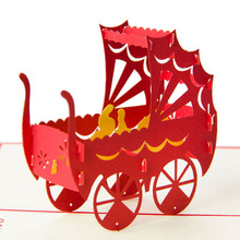 3D Pop Up Paper Laser Cut Greeting Cards Creative Handmade Baby Carriage Birthday Christmas Anniversary Souvenirs Postcards