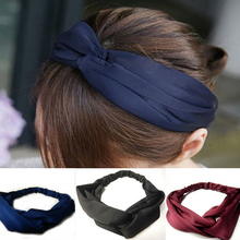 Metting Joura Vintage Bohemian Ethnic Solid Satin Fabric Cross Turban Elastic Headband Hair Accessories