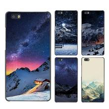 Snow Mountain Chalet Aurora Milky Way Stars Case Black Cover Scrub Shell for Huawei P8 P9 P10 Lite Plus P7 Mate S 7 8 9