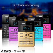 AEKU Qmart Q1 Card Mobile Phone 2G Network Low Radiation Card Cellphone 4.0mm Ultra Thin Pocket 1.0 inch Mini Slim Card Phone