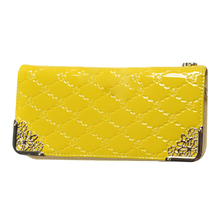 Women's Long section  fashion High capacity Quilted Patent leather clutch Green