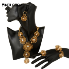 Gold Color Rose Zircon Jewelry Set Fashion Costume Parure Bijoux Femme Plaque Or Dubai Hihgh Quality African Costume Jewellery