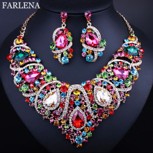 New Fashion Czech Rhinestone Crystal Wedding Jewelry Sets African Jewelry Set Necklace Earrings(China)