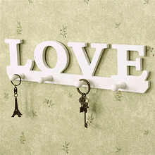 Vintage White LOVE Coat Hat Key Holder 4 Hooks Clothes Hat Robe Hanger Door Bathroom Home Decor Hanger Home Decoration