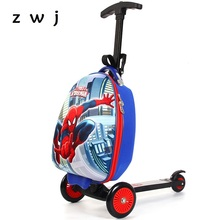 Scooter Luggage cartoon toy box skateboard suitcase Boarding Box Suitcase children gift Luxury Brand(China)