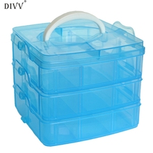 DIVV Creative Clear Four Colors Plastic Craft Beads Jewellery Storage Organizer Compartment Tool Box Case Happy Gifts