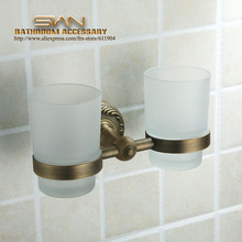 Antique Brass Toothbrush Double Cup Tumbler Holders Clear Glass Bathroom Hardware 3A11621