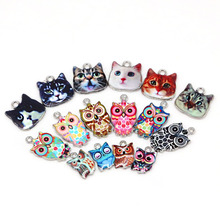 multi Enamel Charms for Jewelry Making Floating Metal Owl Cat Pendant For Living Floating Glass Women DIY fashion necklace(China)