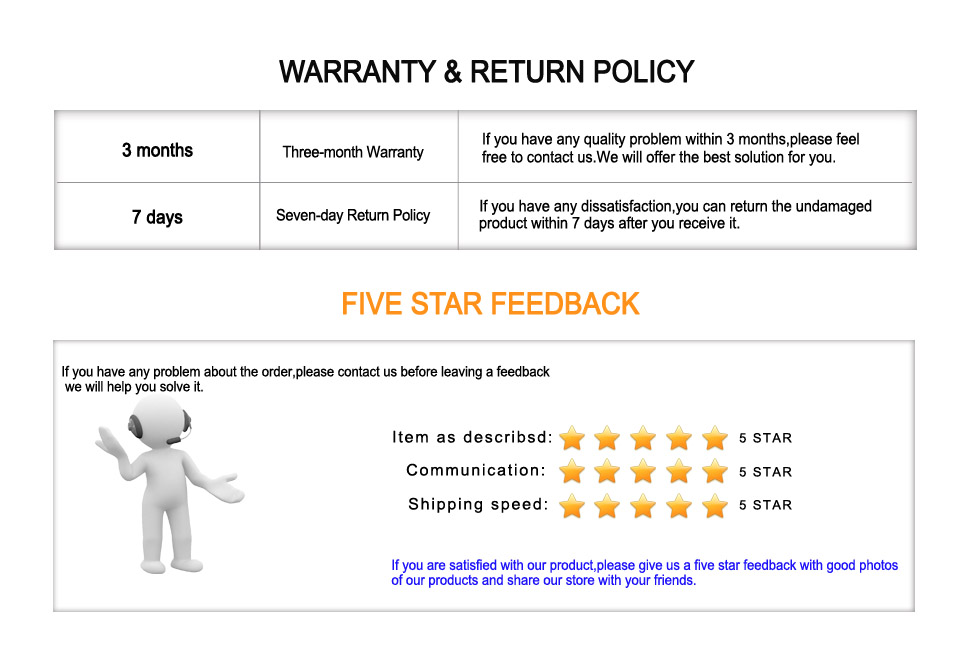 warranty return policy and feedback 2