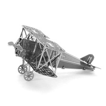 Top Quality Metallic Steel For Nano Intelligence 3D Puzzle Fokker biplane fighter Jigsaw Steamer Model Toy Gifts Decoration