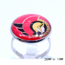 Ottawa Senators Ring Ice Hockey Charms NHL Sport Jewlery Round Glass Dome Silver Plated  Ring For Women Girl Adjustable