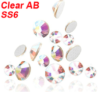 1400 PCS 2MM flat back acrylic rhinestones 3d nail art decorations cell phone rhinestone stickers Gems Clear AB SS6 Wholesale(China)