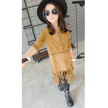 Girls Dress Children Clothing Autumn Casual Style Grils Clothes Children's Clothing Girls Vintage tassel dress Kids Clothes(China)