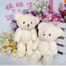 24 pcs free shipping 12CM plush stuffed toy cartoon joint bear bouquet packaging material joint mini teddy bear beige color