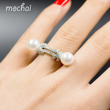 Mocai Brand Simple Design Silver Double Pearl Finger Rings Top Quality Cubic Zirconia Rope Knots Ring Jewelry For Women ZK50