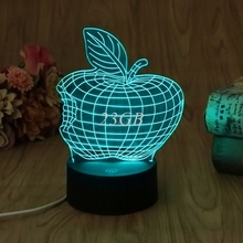 USB Apple LED Night Light Novelty 7 Colors Changing 3D Desk Table Lamp Home Decor A21_17(China)