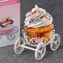 2017 New White Color Cake Stand Ice Cream Pastry Baking Metal Wheel Cupcake Stand Cake Display Wedding Birthday Party Decorating(China)