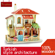 Educational Wooden Toy Jigsaw 3D Wooden Puzzle House Building Toys Kids Chalets Wood Toys for children Gift