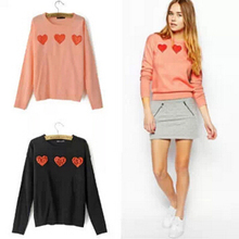 SW468 New Fashion Ladies' elegant lace heart pattern pullover long sleeve knitwear stylish Casual Slim knitted sweater Tops