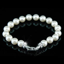 Bridal White , Cream Simulated Pearl Bracelet use Austrian Crystal CSB018(Hong Kong)